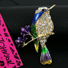 New Betsey Johnson Enamel white Crystal Woodpecker Rhinestone Woman Brooch Pin