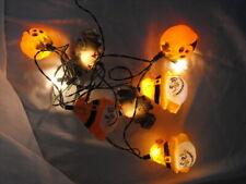 Halloween Bat Scarecrow Pumpkin Plastic Blow Mold String Lights 1980's