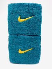 "Nike Swoosh Wristbands Emerald/Gold 3"" Men's Women's"