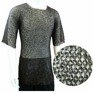 Chain Mail Shirt Large Round Riveted w/ Flat Washer 16-Ga Chainmail Haubergeon