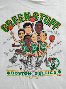 Vintage Boston Celtics Caricature 90's Basketball NBA T Shirt White Cotton Tee