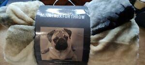 3D Animal Throws Faux Fur Blanket Pug Dog 200x240 Size Bed Sofa Large Fleece