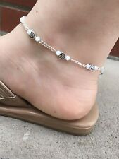 White Anklet For Women - Beach Ankle Bracelet - Bead and Chain Anklet