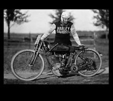 Vintage Harley Davidson Motorcycle PHOTO Racing Bike Track Jersey HD Lettering