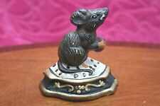Vintage Cast Iron Doorstop wedge Mouse- Painted
