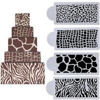 4x Animal Skin Cake Fondant Side Baking Stencil Wedding Decorating Mold DIY Tool