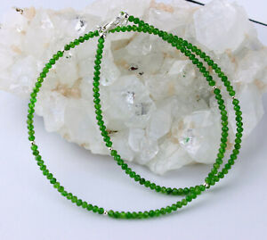 Chromdiopsid Necklace Faceted Green Precious Stone Ladies Gift 18 1/8in