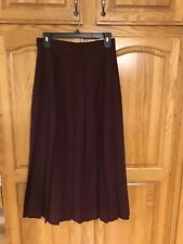 Vintage Ll Bean Pleated Long Wool Skirt Size 6 Burgundy/Wine Color Euc