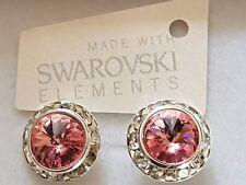 Genuine Swarovski Elements 13mm Light Rose Pink Crystal  Stud Earrings