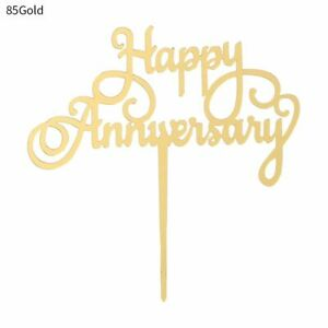 Layot Silver Gold Cake Topper Cupcake Toppers Anniversary Flags Baking Decor