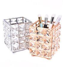 Metal Crystal Square Makeup Organizer Box Brush Storage Desktop Decora Orname QA