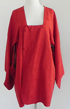 Kimono Duster Red Silk Floral Brocade  Handmade  6 Snap Buttons Size1X