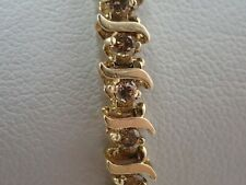 Stunning 10k Yellow Gold S Link Champagne Diamond Tennis Bracelet