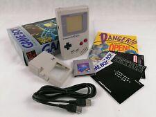 Original 1989 Nintendo Game Boy + Box + Tetris + Game Light + Link Cable