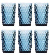 BOX OF 6 Coloured BLUE Glasses Drinking Highball Boxed SIDARI BLUE