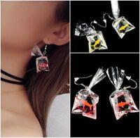 Goldfish Earrings Resin Water Bag Shape Tiny Fish Lover Gift Ear Hook Earrings