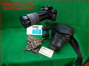 MINOLTA X-700 with VIVITAR 26-200mm ZOOM + CASE + STRAPS