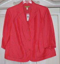 Sigrid Olsen~NWT~Beautifully tailored CORAL jacket~linen~16W 1X~Retail $220