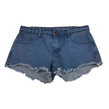 COTTON ON WOMENS SHORTS SIZE 10 BLUE DISTRESSED FRAYED MID RISE