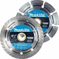 "Makita 2 Piece - 4.5"" Segmented & Turbo Rim Diamond Blade Set For Grinders"