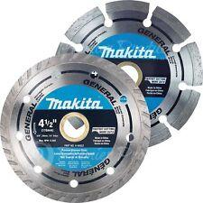"""Makita 2 Piece - 4.5"""" Segmented & Turbo Rim Diamond Blade Set For Grinders"""