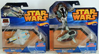 Hot Wheels Star Wars Starships Bobba Fett Slave 1 & Rebels Ghost NIB Lot of 2