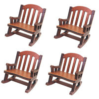 4 Pieces 1/12 Dollhouse Miniature Wooden Rocking Chair Craft Furniture Decor