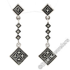 Solid .925 Sterling Silver Marcasite Square Geometric Long Drop Dangle Earrings