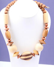 Handmade Natural Wooden Bead Necklace, Vintage 1960s