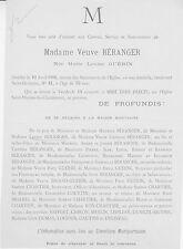 1900 Faire-part décès Madame Veuve BÉRANGER, née Marie-Louise GUÉRIN - Paris.