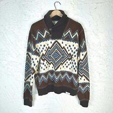 Denim & Supply Mens M Southwest Aztec Shawl Collar Pullover Terry Ralph Lauren