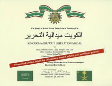 Kingdom Of Kuwait Liberation (Saudi Desert Storm) Medal Replacement Certificate