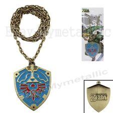 The Legend of Zelda LOGO Shield Metal Pendant Necklace Blue NIB