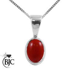 Collares y colgantes de joyería rojo natural de plata de ley