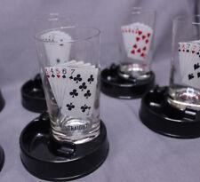 Vintage 8 Poker Hand Glasses w/ Ashtray Coasters Casino Gambling Bar Ware Set