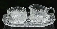 Älteres Bleikristall Milch und Zuckerset mit Tablett 3 teilig um 1930 !!!