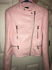 WOMEN'S FAUX LEATHER MOTORCYCLE BIKER PINK JACKET WITH ZIPPERS SIZE 3