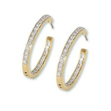 LARGE HOOP GOLD EP CUBIC ZIRCONIA INSIDE OUT EARRINGS