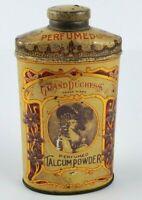 VTG Original 1906 Grand Duchess Perfumed Talcum Powder Tin Tall Oval Shaped