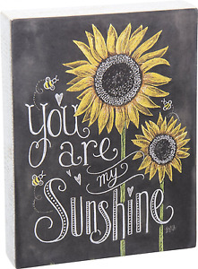 Decorative Chalk Sign Wood Quoted Words Sunflower Design Wall Hanging Home Decor