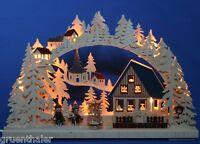 LED 3D-Schwibbogen Pyramidenhaus 43x30cm farbig Erzgebirge Pyramide NEU