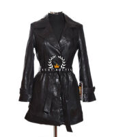 Rebecca Black Ladies Women's Smart Casual Real Leather Jacket Trench Coat