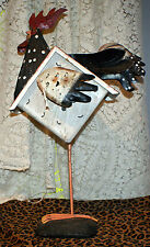 New listing Decorative Metal And Wood Rooster Figure With Birdhouse Body For Kitchen/Garden