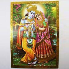 Altarbild Radha- Krishna, Prägedruck Indien Hinduismus  Bild Guru Om Puja 14