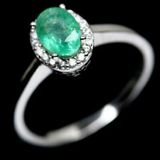 NATURAL 5 X 7mm. GREEN EMERALD & WHITE CZ STERLING 925 SILVER RING SZ 8