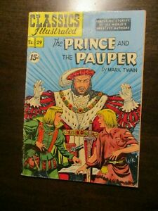CLASSICS ILLUSTRATED #29 THE PRINCE AND THE PAUPER BY MARK TWAIN HRN 114 FINE