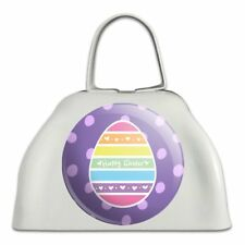 Cute Rainbow Happy Easter Egg White Metal Cowbell Cow Bell Instrument