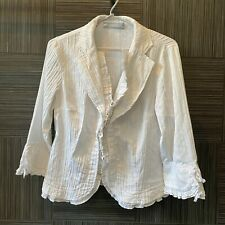 Anthea Crawford Womens White Striped Long Sleeve Ruffled Blouse Size 10