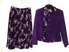 Leslie Fay Pleated Skirt Suit Set w Matching Scarf-10P, purple/navy multi  NICE!
