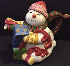 Fitz & Floyd Christmas Snowman Frosty Folks Teapot NEW Holiday Decor Xmas